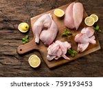 raw chicken meat on wooden... | Shutterstock . vector #759193453