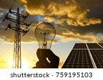 electricity transmission pylon  ... | Shutterstock . vector #759195103