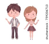 cute couple. man and woman.... | Shutterstock .eps vector #759206713