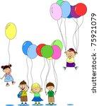 children hold balloons ... | Shutterstock .eps vector #75921079