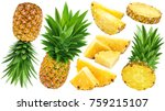 pineapple collection. whole and ... | Shutterstock . vector #759215107