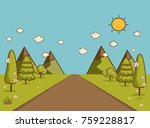road in green valley  mountains ... | Shutterstock .eps vector #759228817