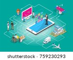 isometric smart mobile health... | Shutterstock .eps vector #759230293