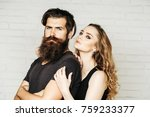 man with beard and woman with... | Shutterstock . vector #759233377