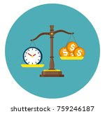 money and time clock balance on ... | Shutterstock .eps vector #759246187