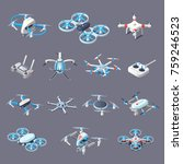 drones isometric icons with... | Shutterstock .eps vector #759246523