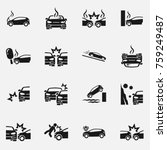 set of car accident vector icon ...