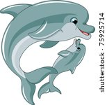dolphin mother and baby... | Shutterstock .eps vector #75925714
