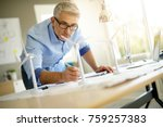 industrial engineer working on... | Shutterstock . vector #759257383