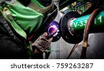 man in the face mask welds with ... | Shutterstock . vector #759263287