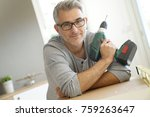 portrait of cheerful man with... | Shutterstock . vector #759263647