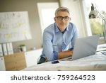 portrait of architect looking... | Shutterstock . vector #759264523