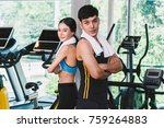 sport man and woman with towel... | Shutterstock . vector #759264883