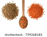 red and green lentils with... | Shutterstock . vector #759268183