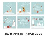 set of 6 cute christmas gift... | Shutterstock .eps vector #759282823