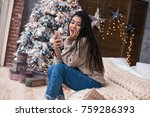 beautiful lifestyle girl with... | Shutterstock . vector #759286393