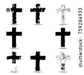 religion cross . black paint .... | Shutterstock .eps vector #759286933