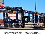 quay straddle carrier driver... | Shutterstock . vector #759293863