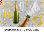 champagne. glasses  bottle ... | Shutterstock .eps vector #759296887