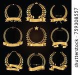 golden laurel wreath with... | Shutterstock .eps vector #759308557