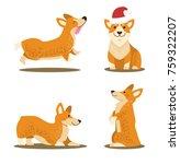 corgi dog set of four icons... | Shutterstock .eps vector #759322207