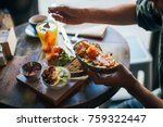 young man enjoys big and tasty... | Shutterstock . vector #759322447