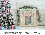 christmas interior fireplace   Shutterstock . vector #759322987