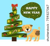 happy new year poster with... | Shutterstock .eps vector #759327367