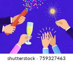 people hands with champagne... | Shutterstock .eps vector #759327463