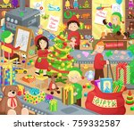 santa claus presents factory... | Shutterstock .eps vector #759332587