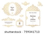 Vector Set With Vintage Golden...
