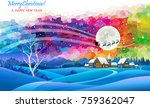 santa claus is flying across a... | Shutterstock .eps vector #759362047