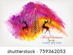 silhouette of reindeers looking ... | Shutterstock .eps vector #759362053