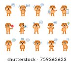 set of funny yellow dog... | Shutterstock .eps vector #759362623
