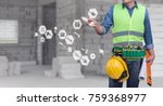 a construction worker man with... | Shutterstock . vector #759368977
