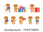 set of funny yellow dog... | Shutterstock .eps vector #759374893