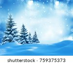 winter background with snow and ... | Shutterstock . vector #759375373