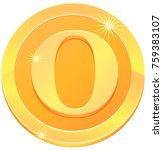 gold coin with letter o design... | Shutterstock .eps vector #759383107