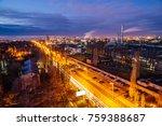 aerial view to night voronezh... | Shutterstock . vector #759388687