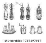salt and pepper shakers... | Shutterstock .eps vector #759397957
