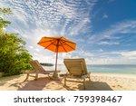 maldives tranquil beach.... | Shutterstock . vector #759398467
