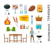 set for barbecue party. bbq ... | Shutterstock .eps vector #759400693