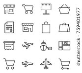 thin line icon set   shop  cart ... | Shutterstock .eps vector #759401977