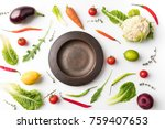top view of plate among... | Shutterstock . vector #759407653