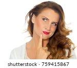 caucasian woman over white...   Shutterstock . vector #759415867