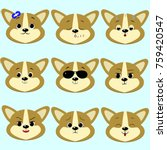 dog corgi smiley  a lot of... | Shutterstock . vector #759420547