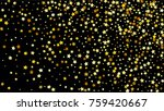 Many Random Falling Stars Confetti on Dark Sky Background. Invitation Background. Banner, Greeting Card, Christmas and New Year card, Postcard, Packaging, Textile Print. Beautiful Night Sky