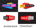 set of black friday  bf  sale... | Shutterstock .eps vector #759439567