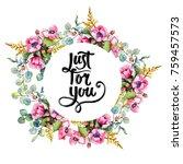 wildflower bouquet wreath in a... | Shutterstock . vector #759457573