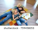 couple resting lying on the... | Shutterstock . vector #759458053